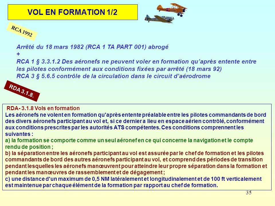VOL EN FORMATION 1/2 Arrêté du 18 mars 1982 (RCA 1 TA PART 001) abrogé