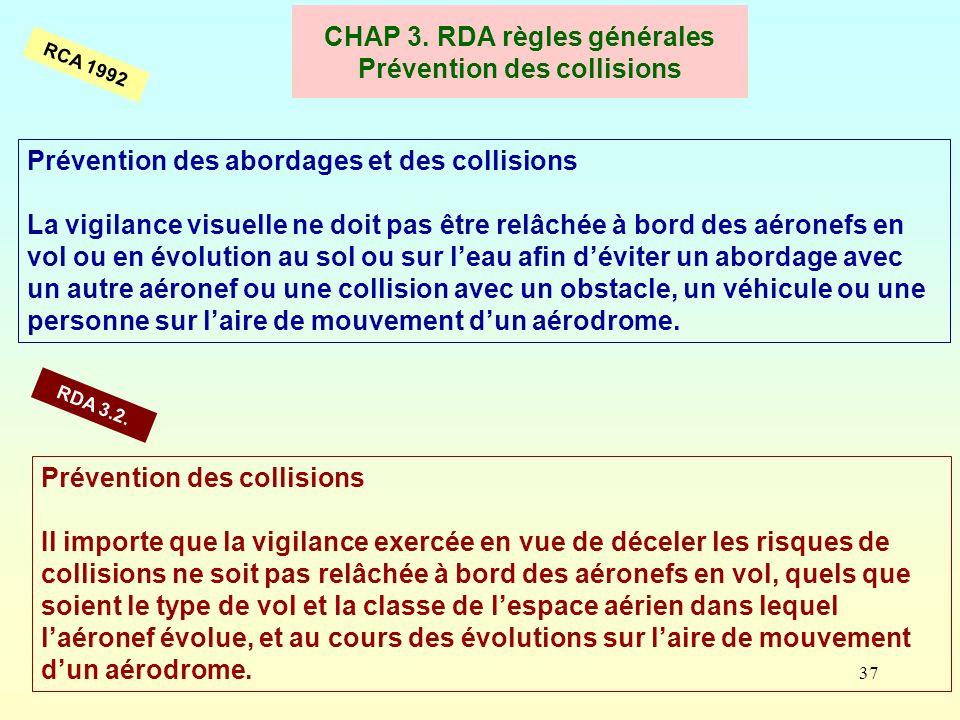 CHAP 3. RDA règles générales Prévention des collisions