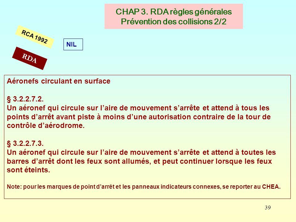 CHAP 3. RDA règles générales Prévention des collisions 2/2