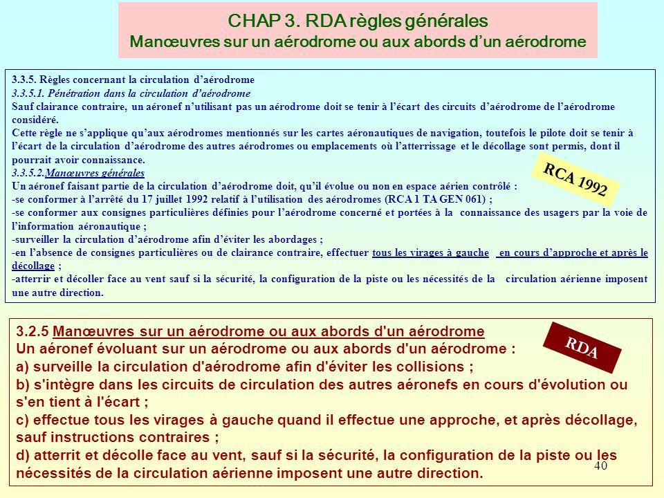 CHAP 3. RDA règles générales Manœuvres sur un aérodrome ou aux abords d'un aérodrome