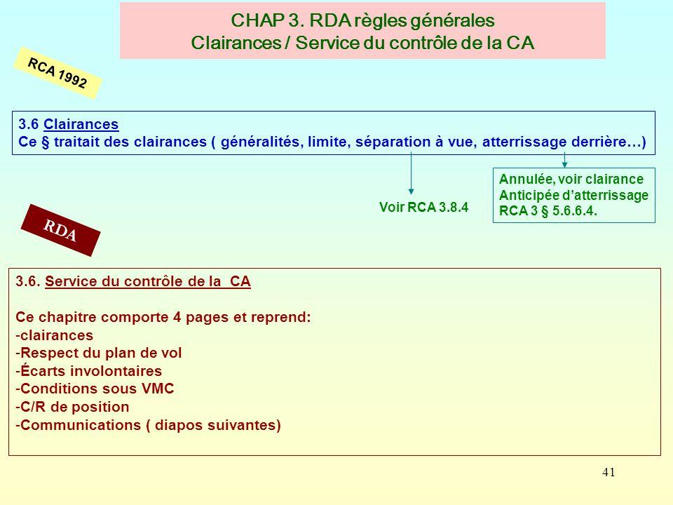 CHAP 3. RDA règles générales Clairances / Service du contrôle de la CA