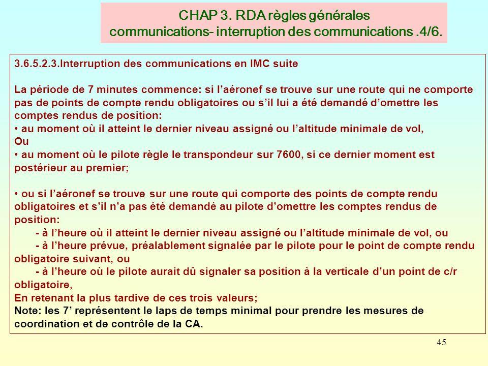 CHAP 3. RDA règles générales communications- interruption des communications .4/6.