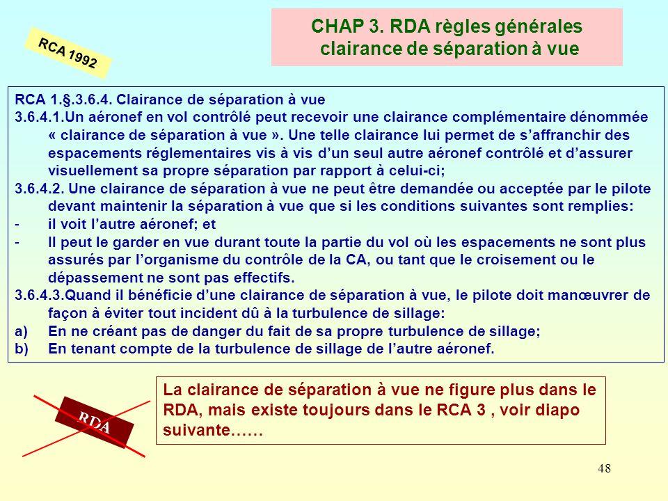 CHAP 3. RDA règles générales clairance de séparation à vue