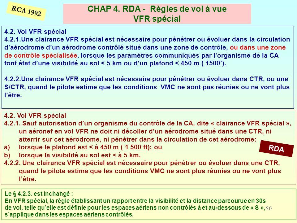 CHAP 4. RDA - Règles de vol à vue VFR spécial