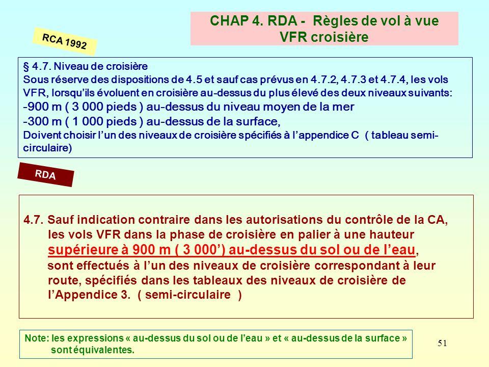 CHAP 4. RDA - Règles de vol à vue VFR croisière