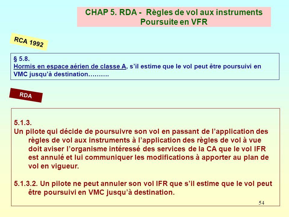 CHAP 5. RDA - Règles de vol aux instruments Poursuite en VFR