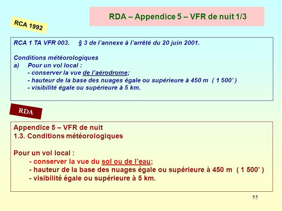 RDA – Appendice 5 – VFR de nuit 1/3