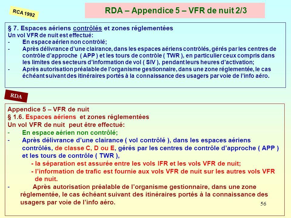 RDA – Appendice 5 – VFR de nuit 2/3