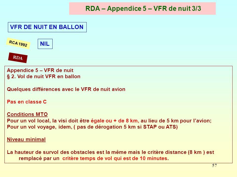 RDA – Appendice 5 – VFR de nuit 3/3