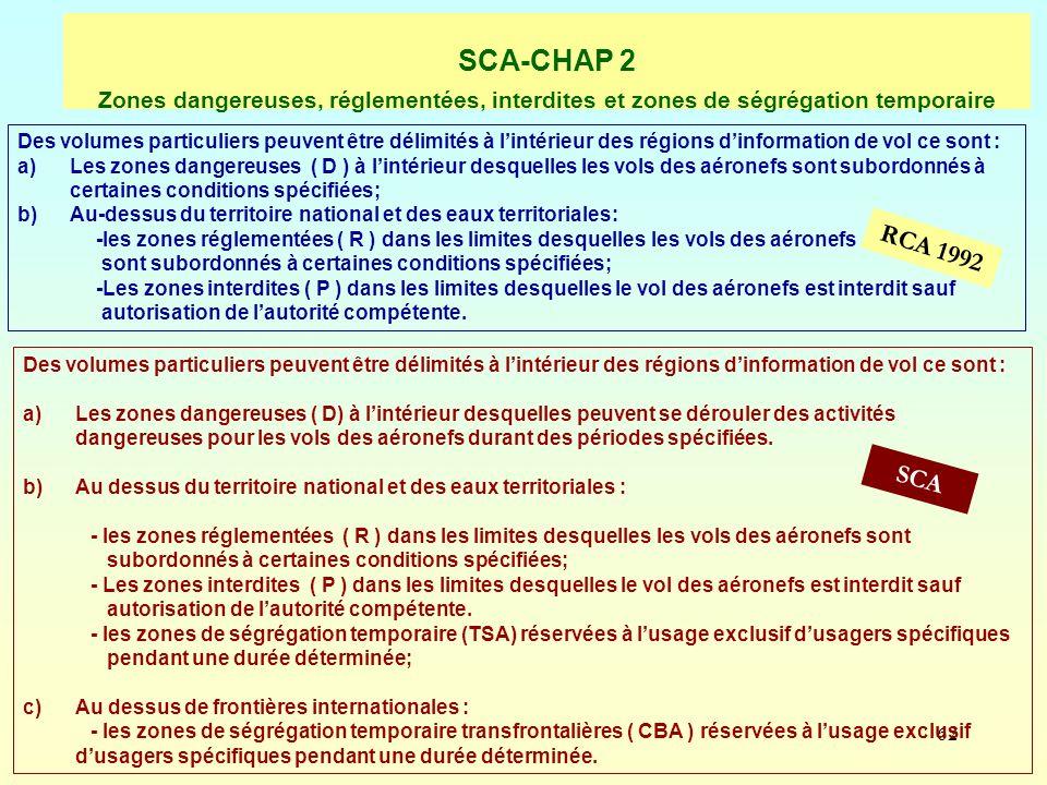 SCA-CHAP 2 Zones dangereuses, réglementées, interdites et zones de ségrégation temporaire