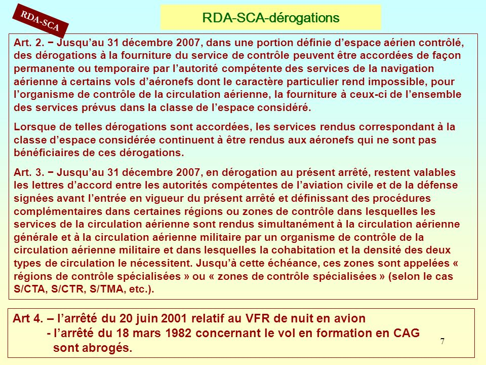 RDA-SCA-dérogations RDA-SCA.