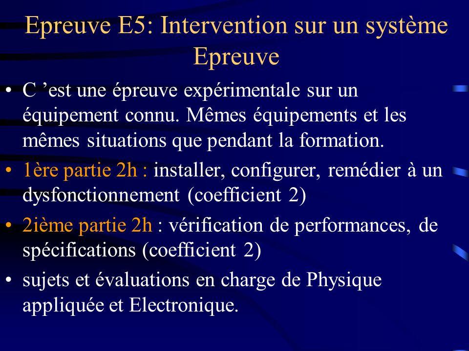 Epreuve E5: Intervention sur un système Epreuve