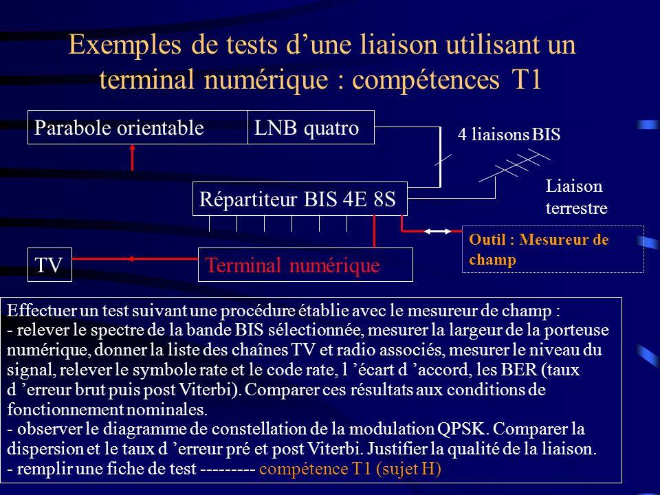 Exemples de tests d'une liaison utilisant un terminal numérique : compétences T1