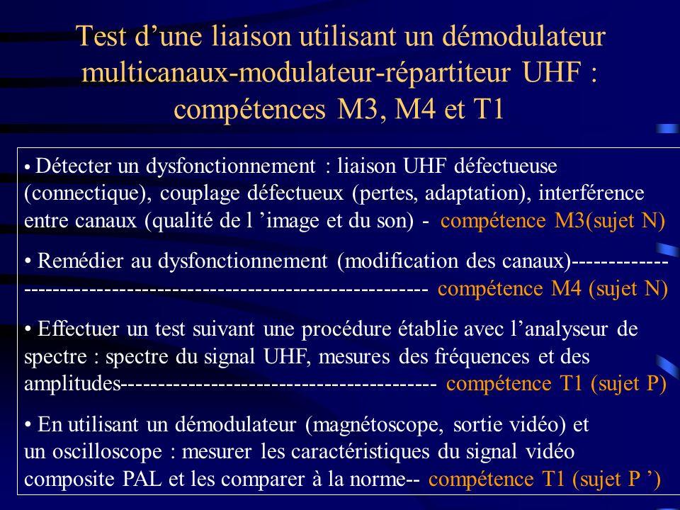 Test d'une liaison utilisant un démodulateur multicanaux-modulateur-répartiteur UHF : compétences M3, M4 et T1