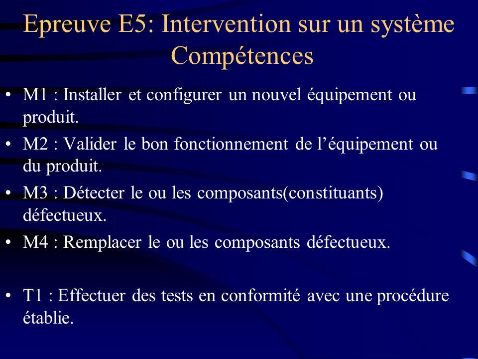 Epreuve E5: Intervention sur un système Compétences