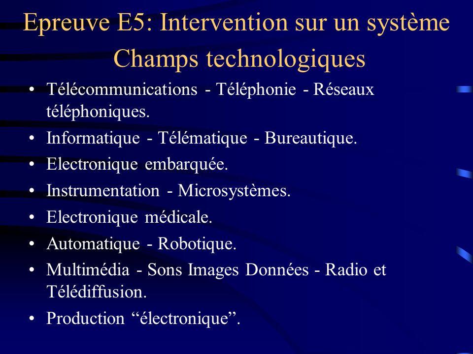 Epreuve E5: Intervention sur un système Champs technologiques