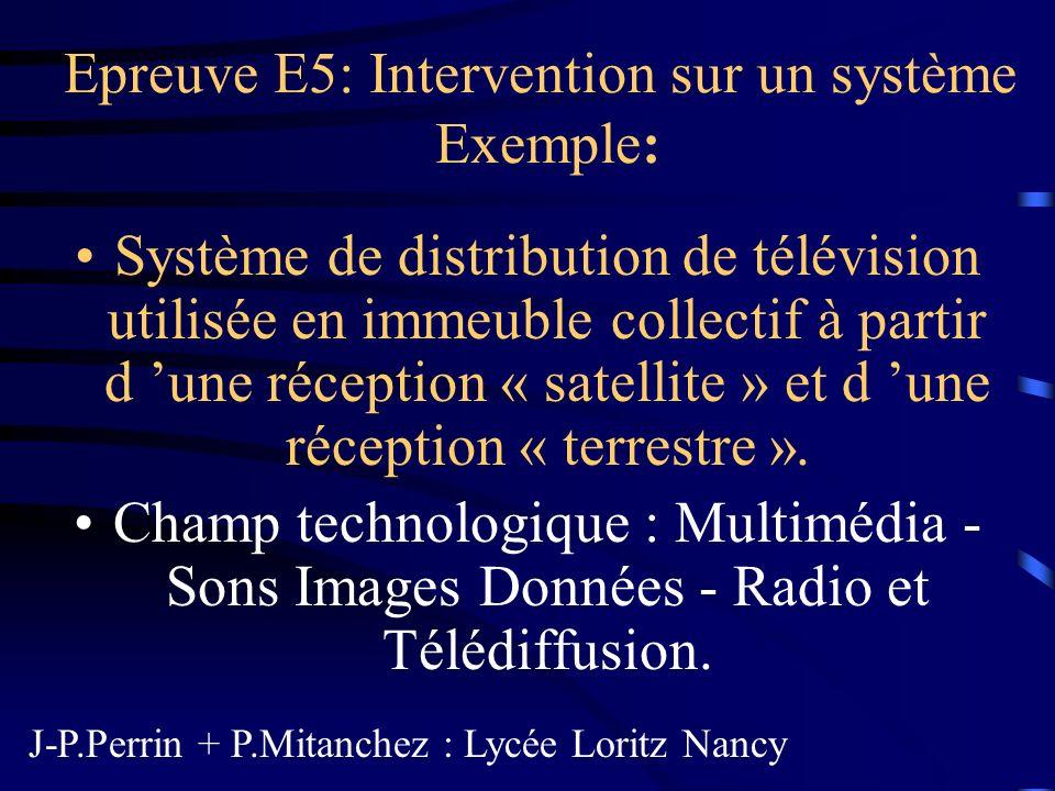 Epreuve E5: Intervention sur un système Exemple: