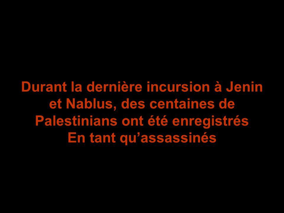 Durant la dernière incursion à Jenin et Nablus, des centaines de Palestinians ont été enregistrés