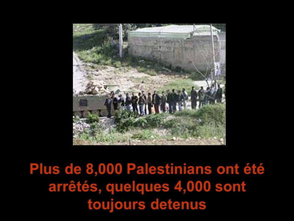 Plus de 8,000 Palestinians ont été arrêtés, quelques 4,000 sont toujours detenus