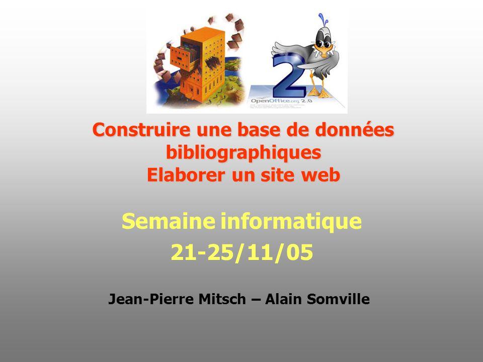 Construire une base de données bibliographiques Elaborer un site web