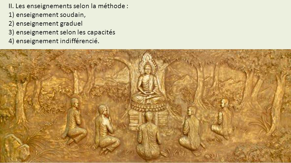 II. Les enseignements selon la méthode :