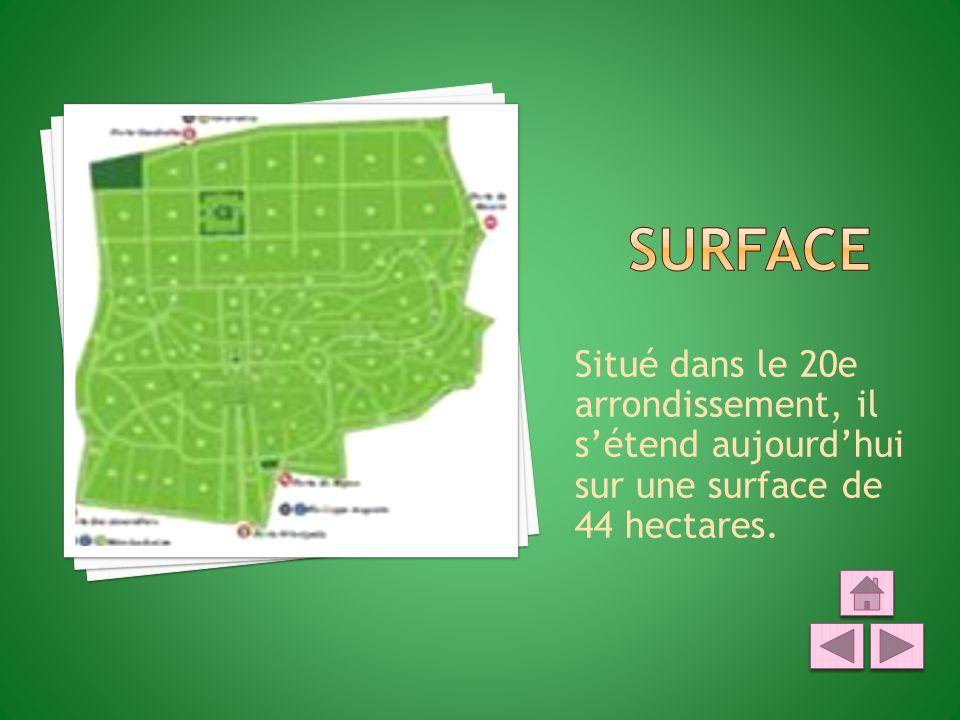 SURFACE Situé dans le 20e arrondissement, il s'étend aujourd'hui sur une surface de 44 hectares.