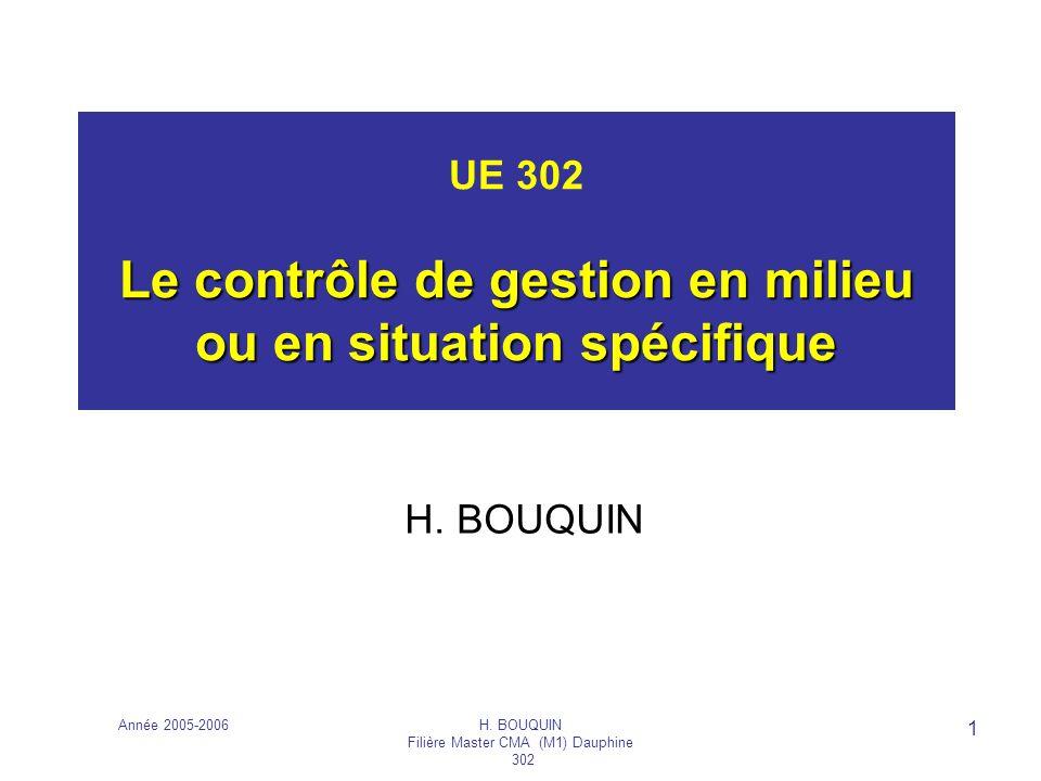 UE 302 Le contrôle de gestion en milieu ou en situation spécifique