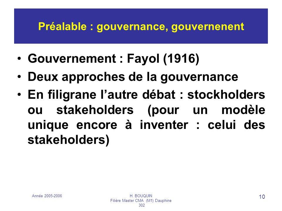 Préalable : gouvernance, gouvernenent