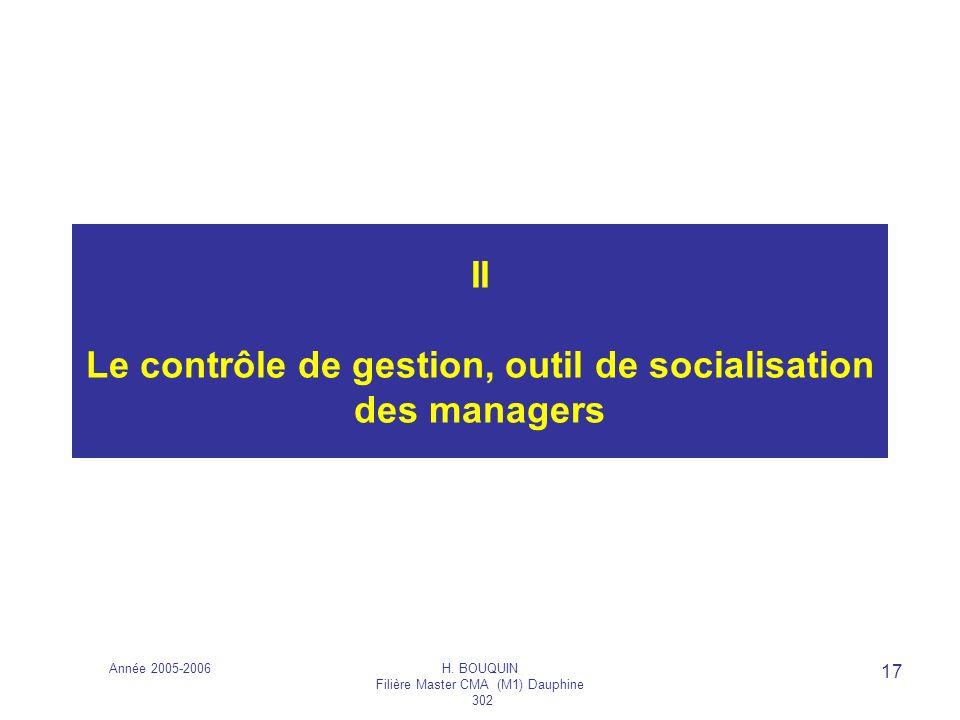 II Le contrôle de gestion, outil de socialisation des managers