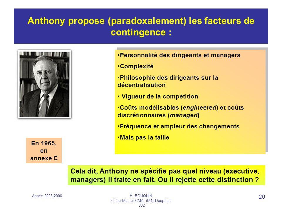 Anthony propose (paradoxalement) les facteurs de contingence :