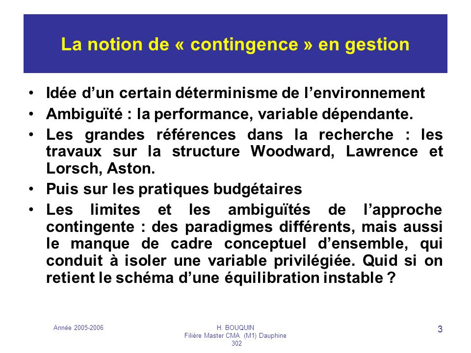 La notion de « contingence » en gestion