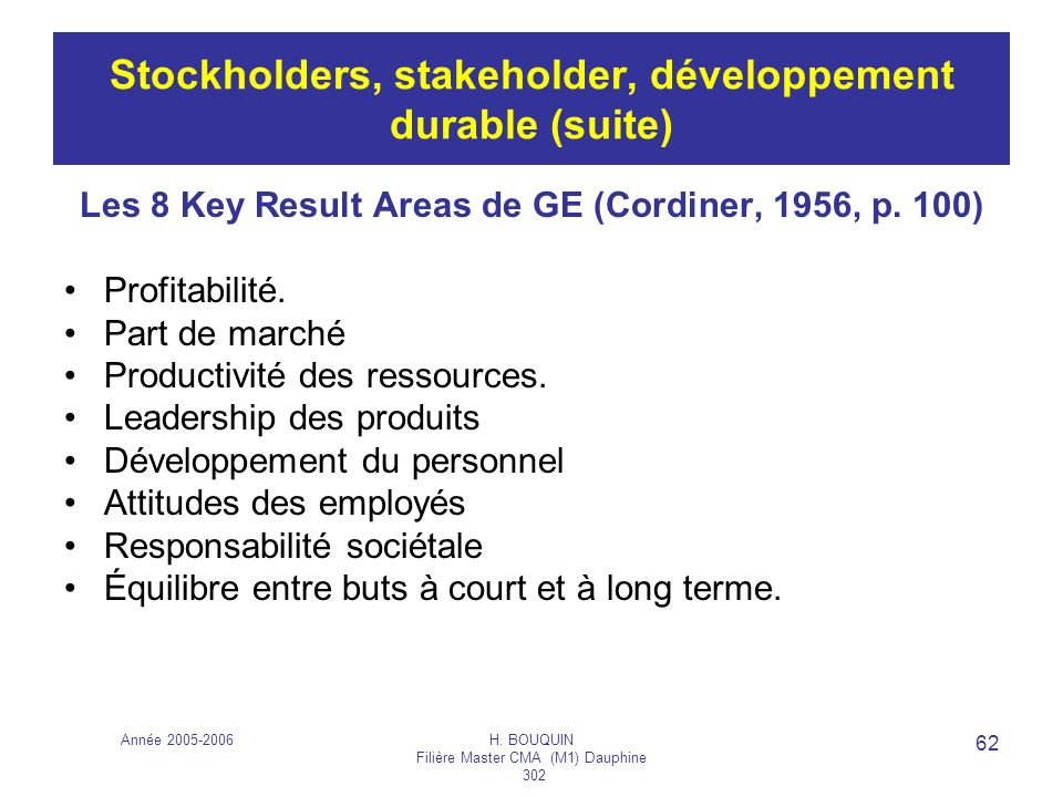 Stockholders, stakeholder, développement durable (suite)