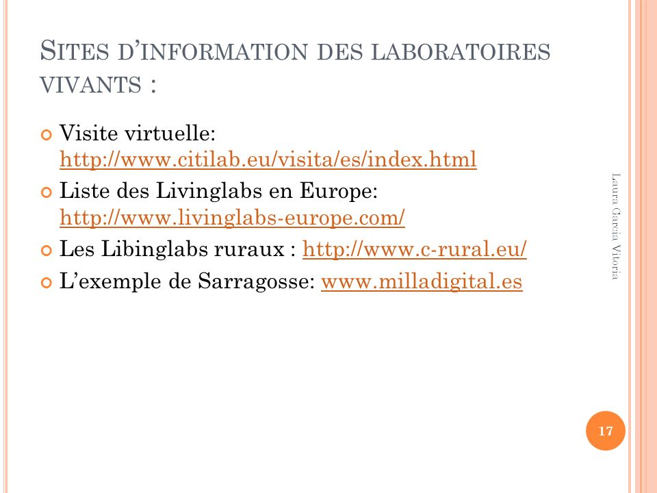 Sites d'information des laboratoires vivants :