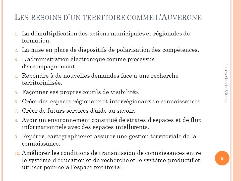 Les besoins d'un territoire comme l'Auvergne