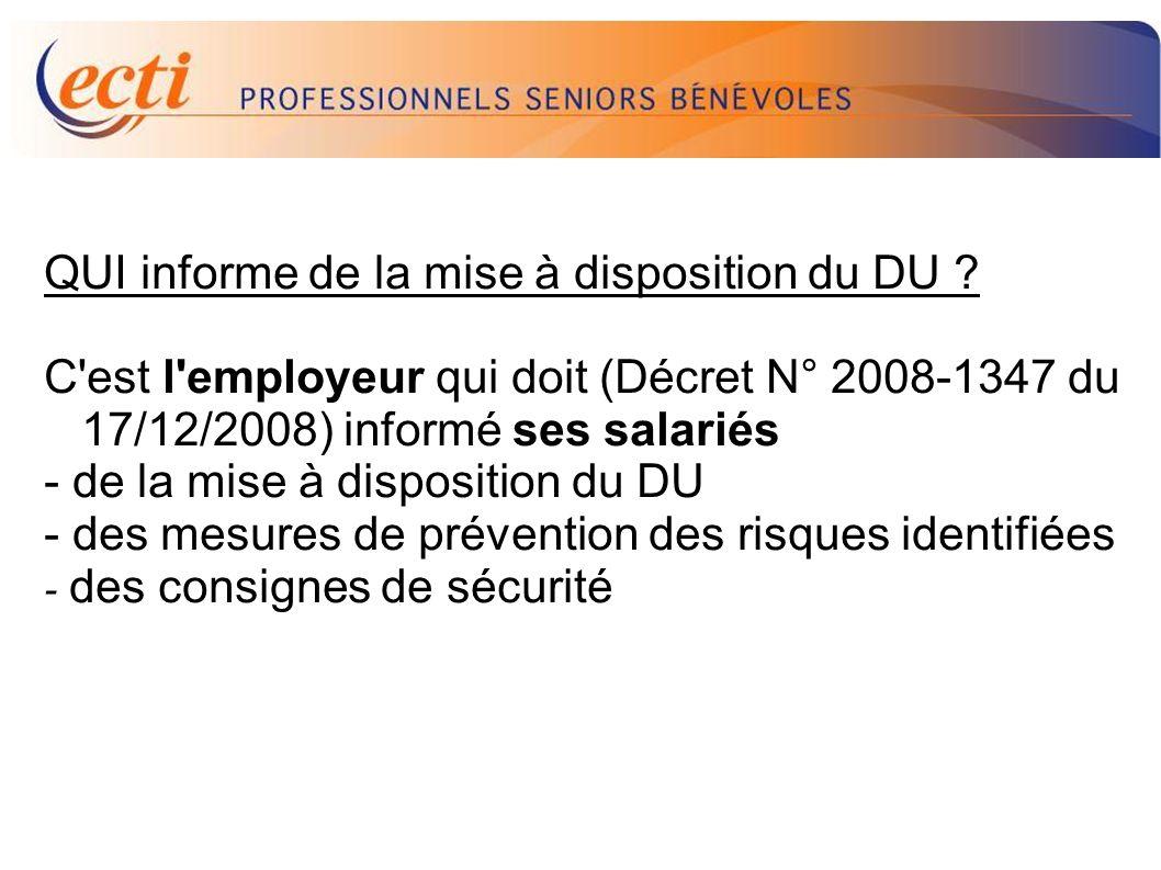 D.U. QUI informe de la mise à disposition du DU