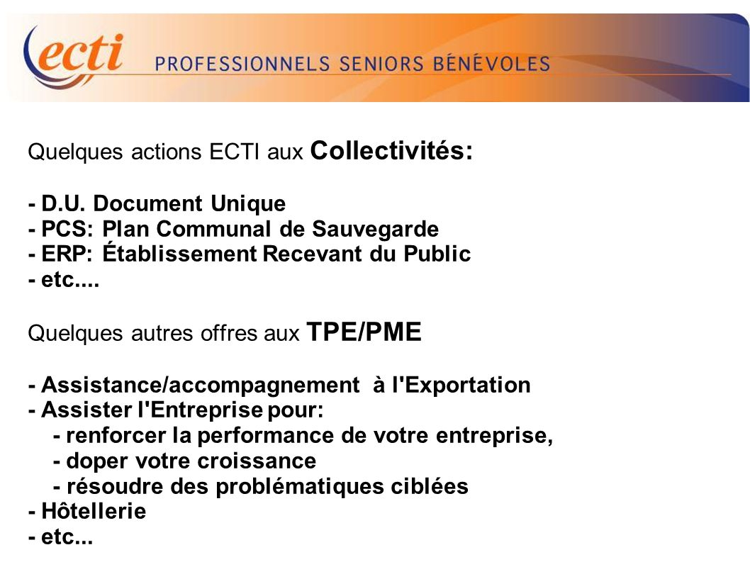 D.U. Quelques actions ECTI aux Collectivités: - D.U. Document Unique