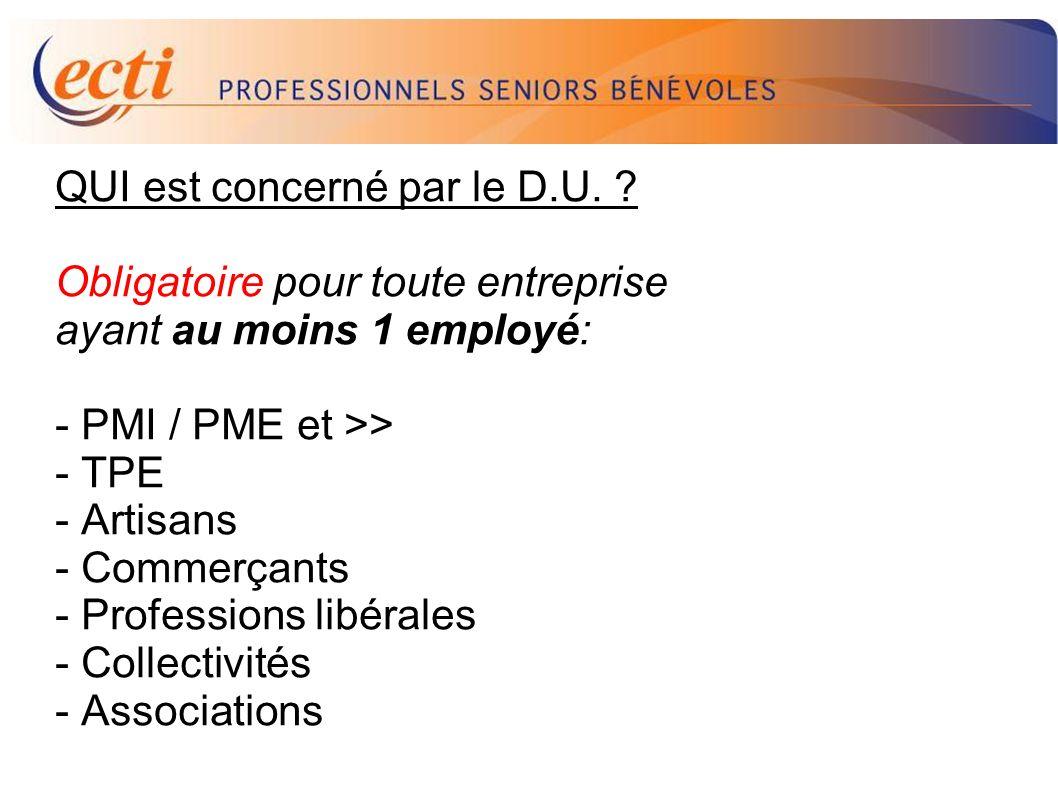 D.U. QUI est concerné par le D.U. Obligatoire pour toute entreprise
