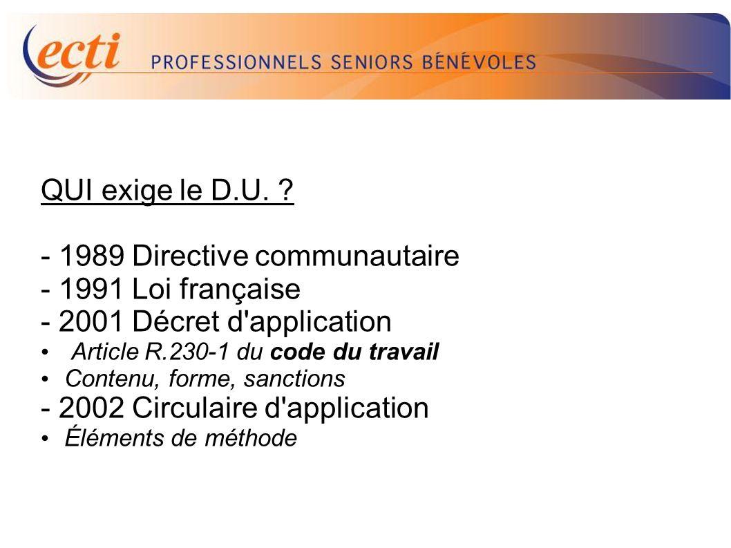 D.U. QUI exige le D.U. - 1989 Directive communautaire