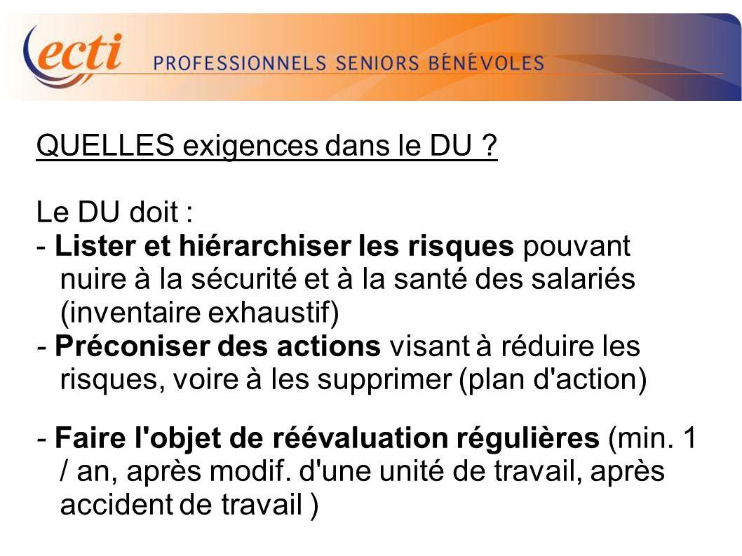D.U. QUELLES exigences dans le DU Le DU doit :