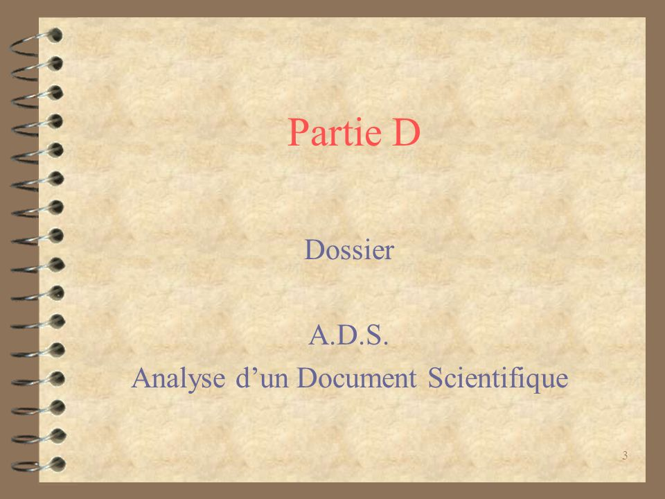 Dossier A.D.S. Analyse d'un Document Scientifique