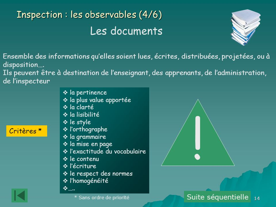 ! Les documents Inspection : les observables (4/6)