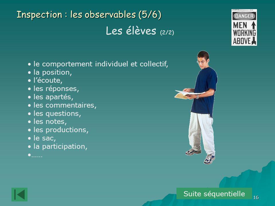 Les élèves (2/2) Inspection : les observables (5/6)