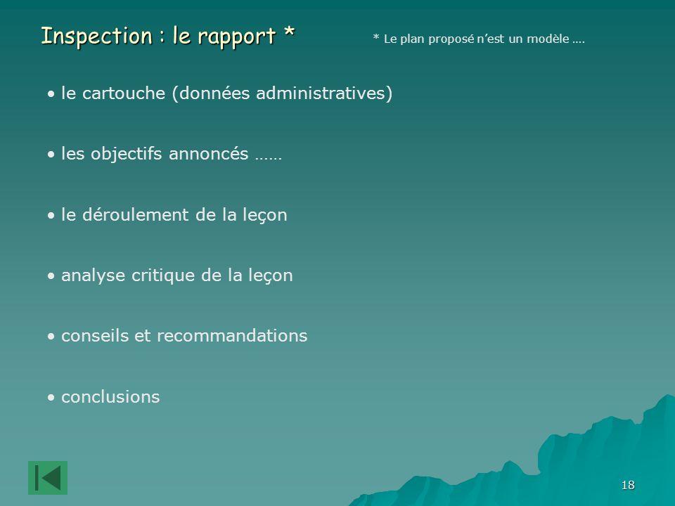 Inspection : le rapport *
