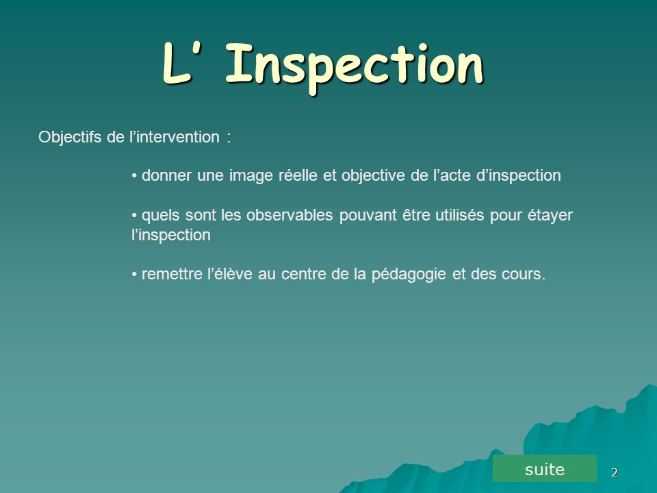 L' Inspection Objectifs de l'intervention :
