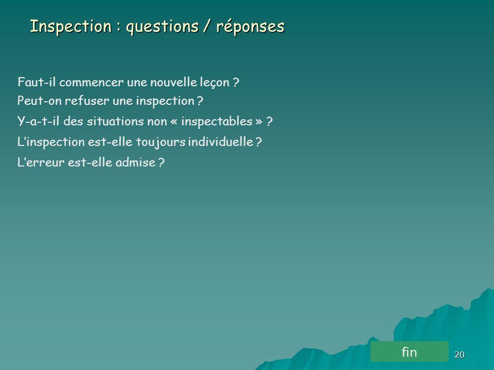 Inspection : questions / réponses