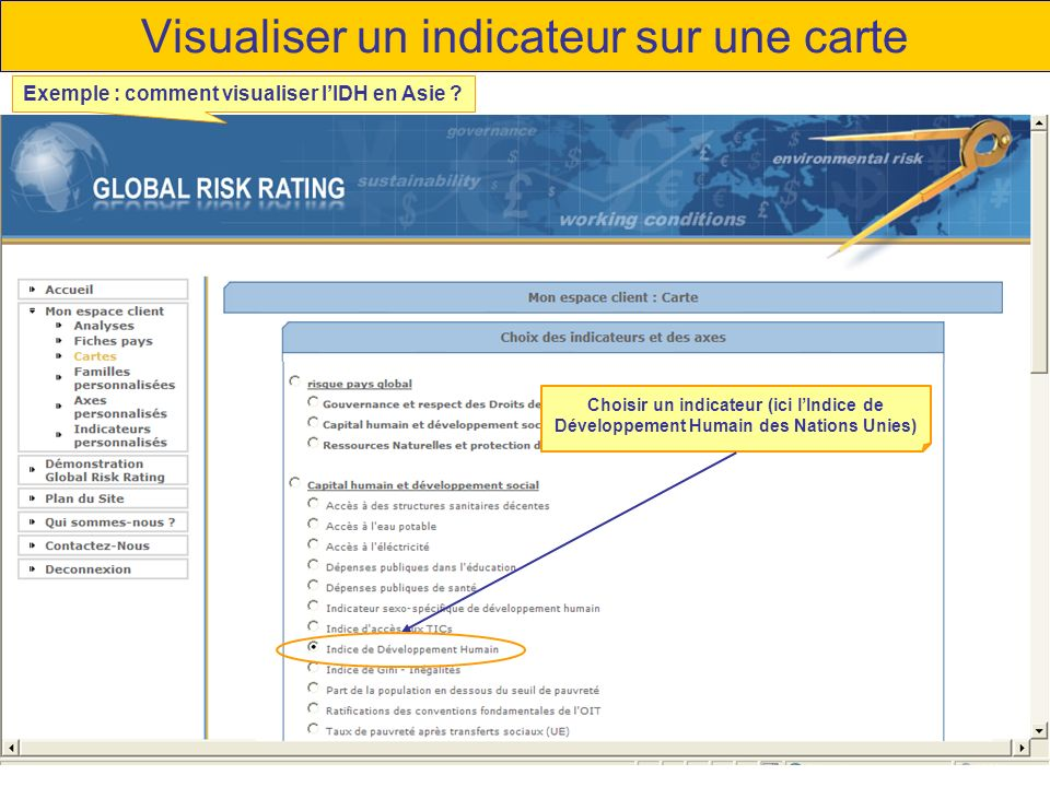 Visualiser un indicateur sur une carte