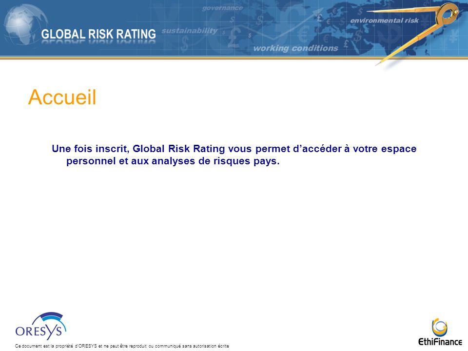 Accueil Une fois inscrit, Global Risk Rating vous permet d'accéder à votre espace personnel et aux analyses de risques pays.