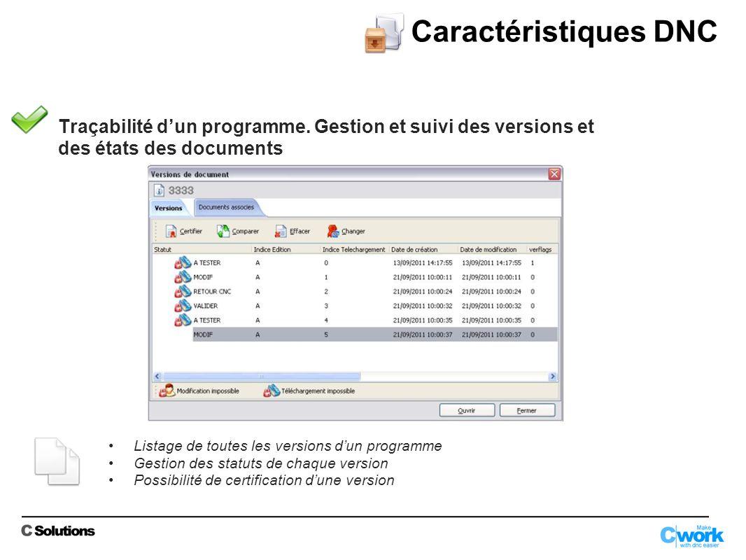 Caractéristiques DNC Traçabilité d'un programme. Gestion et suivi des versions et. des états des documents.