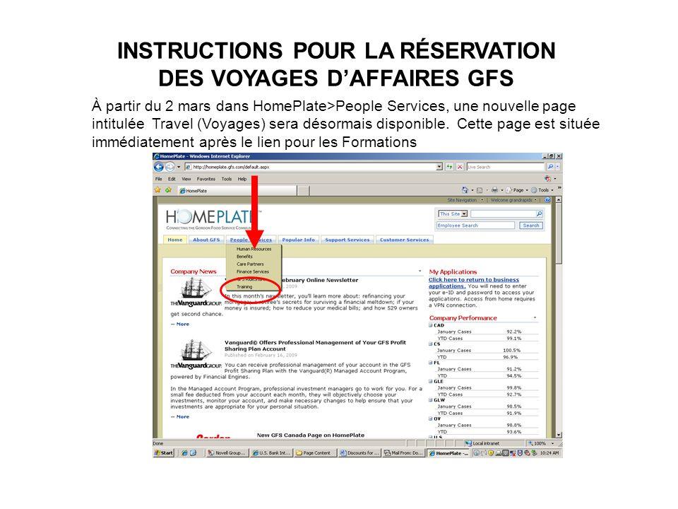 INSTRUCTIONS POUR LA RÉSERVATION DES VOYAGES D'AFFAIRES GFS