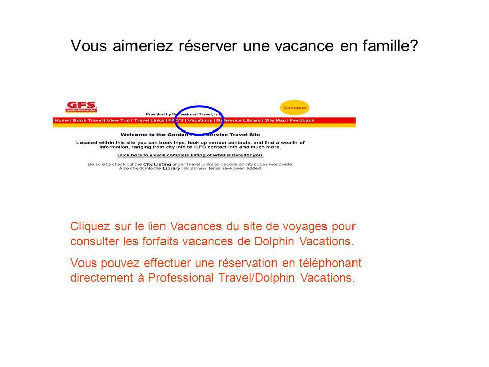 Vous aimeriez réserver une vacance en famille